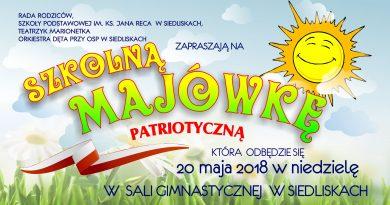 Szkolna Majówka Patriotyczna w Siedliskach- Zaproszenie