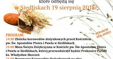Dożynki Gminne w Siedliskach- Zaproszenie