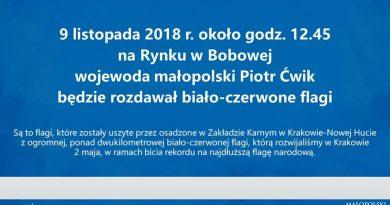 Jutro wojewoda małopolski będzie rozdawał flagi państwowe w Bobowej