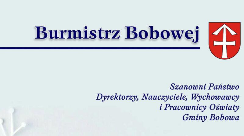 Życzenia Burmistrza Bobowej z okazji Dnia Edukacji Narodowej